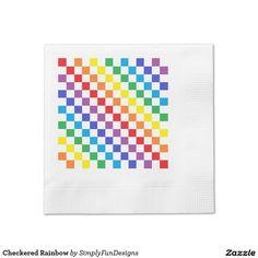 Checkered Rainbow Paper Napkin