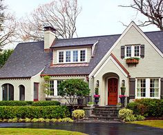 Boost your home's curb appeal with inspiration from these tips and tricks for creating perfect exterior color schemes. Learn how to figure out what exterior colors go together and how to pick hues that work for your home's style and architecture. House Exterior Color Schemes, Exterior Colors, Exterior Paint, Exterior Design, Gray Exterior, Cottage Exterior, Exterior Shutters, Facade Design, Plans Architecture