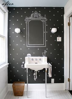 This is really clever! I would hang an oval or round mirror in the center of the larger painted one. Could paint other iconic bathroom images on the other walls too! Also, a gathered skirt around the sink would be a great way to cover the plumbing. Just use Velcro to attach.