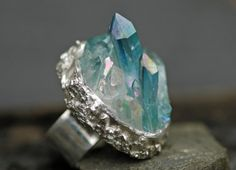 Mixed Quartz Crystals in Textured Silver Ring by Specimental, $250.00