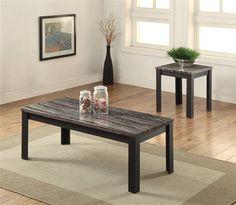 Arabia Black Faux Marble Wood 2pc Pack Coffee Table Set