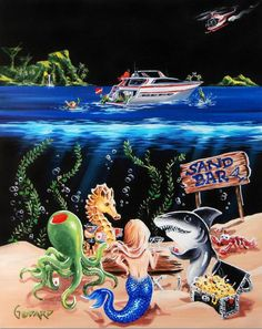 Sand Bar 1 - Limited Edition Artist Proof Hand Embellished Giclee on Stretched Canvas by Michael Godard