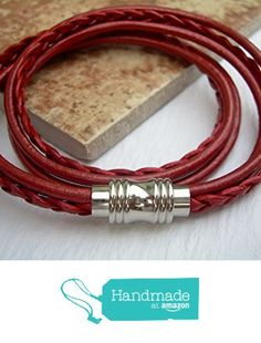 Womens Red Leather Bracelet with Stainless Steel Magnetic Clasp - Double Wrap, Womens Bracelet, Womens Jewelry, Leather Bracelet from Urban Survival Gear USA http://www.amazon.com/dp/B016OTP5C8/ref=hnd_sw_r_pi_dp_CMeiwb1DBP242 #handmadeatamazon