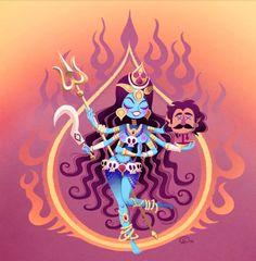 Kali by GantzAistar on DeviantArt Hindus, Kali Tattoo, Bal Hanuman, Kali Mata, Kali Goddess, Durga Images, Indian Folk Art, Happy Navratri, Sacred Feminine