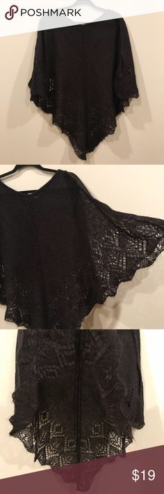 Black Knit Poncho Shawl Designers Originals Studio Gently used. Nice Shawl. One side. Cute. Model pic is an example of a poncho; NOT my listing. Designers Original Studio Tops