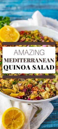 This easy Mediterranean Quinoa Salad is easily my favorite quinoa salad recipe that I've ever made. It is so full of flavor. Make this one for your next family dinner, and you will have a glow of satisfaction that comes from serving something that everyone loves. #wendypolisi #healthy #glutenfree #quinoasalad #vegetarian Vegetarian Salad Recipes, Vegan Dinner Recipes, Vegan Dinners, Mediterranean Quinoa Salad, Mediterranean Diet Recipes, Gluten Free Recipes For Breakfast, Healthy Gluten Free Recipes, Healthy Eats, Healthy Foods
