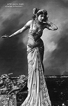 Mata Hari    Born: August 7, 1876   Died: October 15, 1917   Briefly  Exotic dancer and courtesan who was executed by firing squad for espionage during World War I. ~B&W Photography~