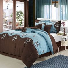 Chic Home 12-Piece Rose Tree Chocolate & Blue Bed In A Bag Set