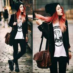 Outfit que habla por si solo! En blanco y negro rockero con un toque formal al mismo tiempo!