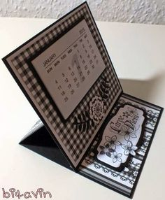 bitavin's Bastel-Blog: Easel Minikalender schwarz/weiß