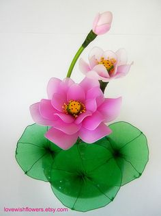 Pink and white Lotus. Handcraft nylon fabric by lovewishflowers