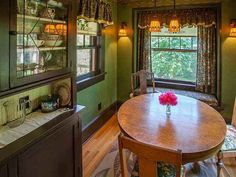 1910 Craftsman House Spokane WA Dining Room Breakfast With Olive Green
