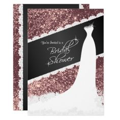 #gold - #Beautiful Rose Gold Glitter Bridal Shower Card