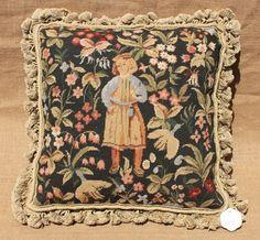 "16"" Old Vintage Antique Design Tapestry Needlepoint Pillow Girl in Garden 15K | eBay"