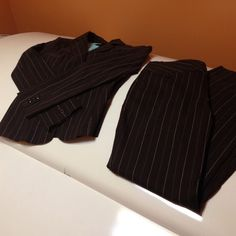 Super cute suit.   By A byer. Brown with green white pinstripes (kind of teal color)   Jacket size small.  Pants size 7.  👍 A Byer Jackets & Coats Blazers