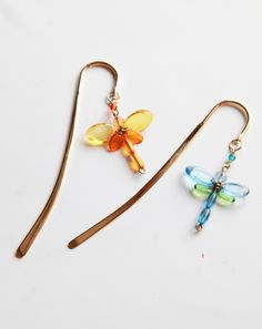 Exquisite brass and bead dragonfly bookmarks