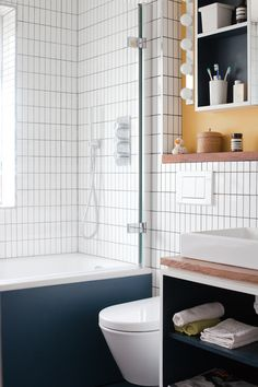 bathroom - Ikea lighting, Catalano sanitaryware, bath, blue linoleum, iroko worktop and shelf Ikea Bathroom, Bathroom Floor Tiles, Small Bathroom, Bathrooms, Bathroom Furniture Inspiration, Ikea Tiles, Ikea Lighting, Bathroom Lighting, Bathroom Decor Pictures