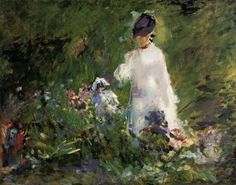 Young Woman among the Flowers by Edouard Manet #art