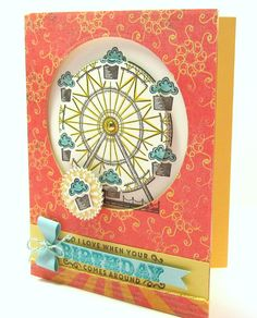 March 2017, Card #1.  The Carousel Birthday ferris wheel stamp begged to be made into a spinner card!  My Pinterest search turned up nothing, so I had to get creative on my own.  :)  This design worked great using the Sliding Star Framelits. Spin, spin, spin, little cupcake!  Our Sister cards this month all use stamps, paper, embellishment and colors from the Cupcakes and Carousels suite in the 2017 Occasions Catalog.