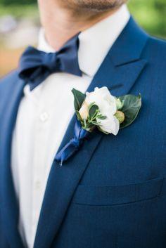 Elegant navy wrapped boutonniere: http://www.stylemepretty.com/north-carolina-weddings/charlotte/2015/08/18/rustic-mint-gold-north-carolina-wedding/ | Photography: Marcie Meredith - http://marciemeredith.com/