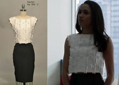Rachel Zane (Meghan Markle) in a Rachel Comey blouse, paired with an Alexander Mcqueen Skirt (Follow Klowee Hulbert on Pinterest)
