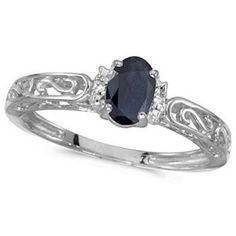 Allurez Blue Sapphire & Diamond Filigree Antique Style Ring 14k White Gold