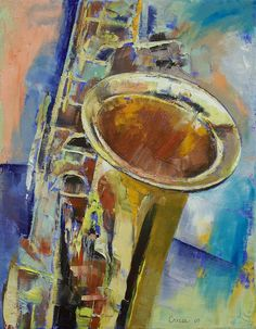 """Saxophone"" by Michael Creese // Original oil on canvas painting by American artist Michael Creese. // Imagekind.com -- Buy stunning, museum-quality fine art prints, framed prints, and canvas prints directly from independent working artists and photographers."