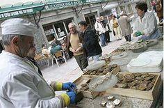un puesto del mercado de las ostras de A Pedra