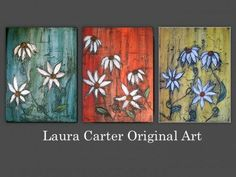 Flower Painting - Triptych Red Turquoise Yellow