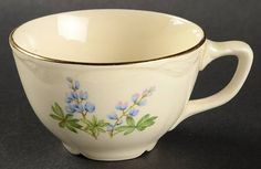 Homer Laughlin  Blue Bonnet Flat Cup. VR420, Virginia Rose shape. 1939- (discontinued)