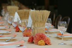 Perfect for a fall wedding—wheat centerpieces (AisleDash) modify for fall brunch table Wheat Wedding, Camo Wedding, Rustic Wedding, Wedding Pins, Wedding Table, Beer Wedding, Wedding Country, Wedding Stuff, Wheat Centerpieces