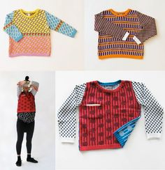 Either way, I wanted to share this latest collection from knitwear designer, Annie Larson. Funky Fashion, Hipster Fashion, Knit Fashion, 80s Fashion, Door Beads, Knitting Club, Sweater Scarf, Cool Sweaters, Diy Clothing
