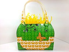 Gift Bag Designer purse style butterfly and green and yellow print 6x4