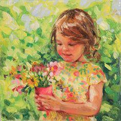 "Custom portrait painting in oil 3x3"" miniature on Etsy, $99.00"