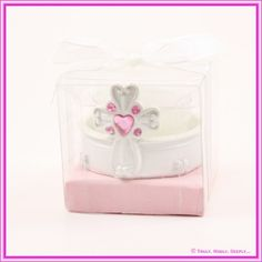Christening Bomboniere - Candle Diamante Cross - PINK