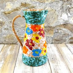 Mid Century Fratelli Fanciullacci Pottery Pitcher (€36) ❤ liked on Polyvore featuring home, kitchen & dining, serveware and pottery pitcher