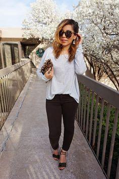 Oversized top and skinny jeans, fringe sandals, tassel heels, AG jeans, leopard clutch, clare v clutch, gray and brown, spring style, casual outfit, Karen walker super duper, rocksbox code reddirtandglitterxoxo, ditto sunglasses code reddirtglitter