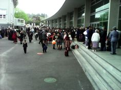 Convention venue and a lil crowd waits