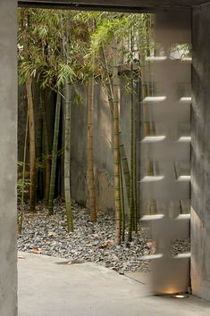 People Restaurant, French Concession district, Shanghai. Designer: Sakae Miura. [left and right] The garden entrance combines a diagonally-set path lined with bamboo and bordered with pebbles. Both the inner door and the outer street door, both sliding, are perforated stainless steel.