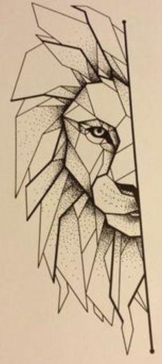 Leeuw - geometrisch - half - getekend