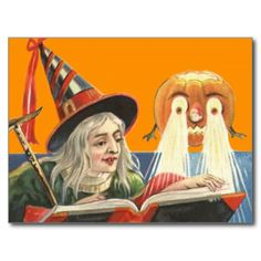 Witch Reading Jack O Lantern Pumpkin Postcards