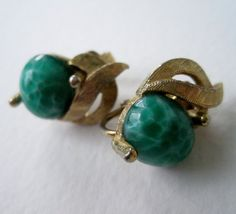 Vintage 60s Retro Regency Brushed Goldtone Green Mottled Glass Cabochon Earrings by ThePaisleyUnicorn, $4.00