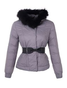 Moncler Fashion Leisure Jacket Women Long Sleeve Belt Grey! Only  226.9USD  Manteau Moncler, 508270e95aa
