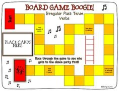 Board game to review irregular past tense verbs $2.50