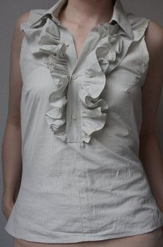 How to Make a Ruffled Top from a Men's Shirt - in the midst of making! its actually working out :D