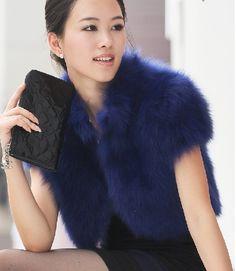 deep blue faux fur bolero vest
