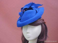 Royal Blue Wool Felt Hat Leaves Fascinator Winter Hat Hatinator Headwear Winter Fall Racing Carnival Wedding Party Millinery Ready to Ship Cream Fascinator, Royal Blue Fascinator, Black Fascinator, Black Wedding Hats, Wool Felt, Felt Hat, Kentucky Derby Fascinator, Floral Fascinators, Felt Crown