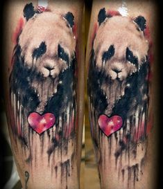 Very Sad Panda With Heart Tattoo