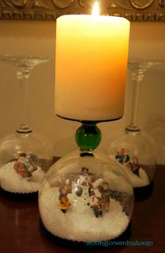 Christmas DIY, Christmas decoration, holiday decorating, wine glass turned upside down to make a snowglobe candle holder Wine Glass Crafts, Wine Bottle Crafts, Winter Christmas, Christmas Holidays, Christmas Ornaments, Snowman Ornaments, Diy Snow Globe, Snow Globes, Christmas Projects