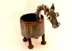 Dressage Pony Horse Planter Scrap Metal Art by Crysten Nesseth of Red Cedar Artists.  www.redcedarartists.com https://www.etsy.com/shop/RedCedarArtists?ref=hdr_shop_menu